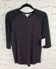 LuLaRoe, NEW With Tags; Randy Tee, Small; Speckled Maroon Shirt Black Sleeves