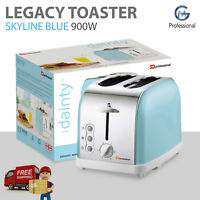 2 Slice Toaster in Skyline Blue 6 Browning Control Defrost Reheat Wide Slot 900W