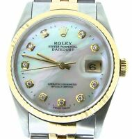 Mens Rolex Datejust 18K Yellow Gold and Steel Watch White MOP Diamond Dial 16233