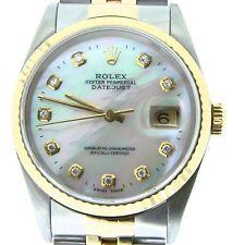 Hombre Rolex Datejust 18k Oro Amarillo y Acero Reloj Blanco Mop Diamante Dial