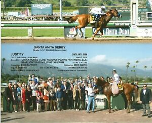 "2018 - JUSTIFY - Santa Anita Derby - 2 Photo Composite - 10"" x 8"""