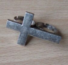 2 Finger Ring Doppelring Kreuz silber -farbig doppel Zweifingerring Kross