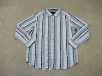 Tommy Bahama Button Up Shirt Adult Large White Blue Silk Blend Marlin Mens B37*