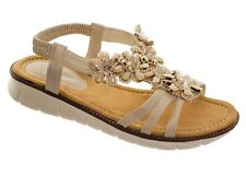 Women's Beige Floral Embellished Sparkly Strappy Flat Jewelled Sandals Ladies Co