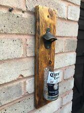 Handmade Wall-mounted Bottle Opener (Reclaimed Wood and Beer Bottle Cap Catcher)