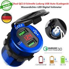 12V Dual USB QC 3.0 Schnellladung Auto Zigarettenanzünder KFZ Ladegerät Adapter
