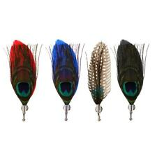 4pcs Fancy Peacock Feathers Handmade Lapel Pin Boutonniere for Mens Suit Pin