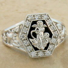 Genuine Black Agate Angel Ring 925 Sterling Silver Ring Size 7, #892