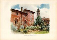 Stampa antica BASCAPE' il castello Bascapè Pavia Grossi 1933 Old print