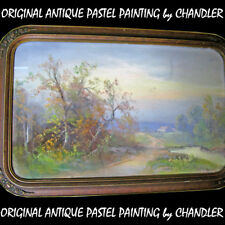 ANTIQUE VINTAGE Old ORIGINAL SIGNED Master PASTEL ART PAINTING Artist CHANDLER