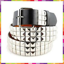 Mens Womens 3-Row Metal Pyramid Studded Leather Belt  Checker Punk Rock Goth Emo