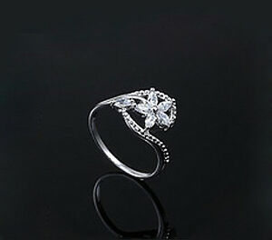 Elegant High Quality White Gold Plated Flower Shaped with Zircons CZ Ring FR12