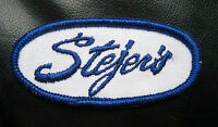 "STEJERS EMBROIDERED SEW ON PATCH FOOD COMPANY ADVERTISING 3 1/4"" X 1 1/2"" OVAL"