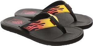 Men Vans Nexpa Synthetic Ultracush Flip Flops Sandals Flames Black Red Yellow