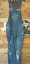 Almost Famous Womens Denim Overalls Blue Distressed Juniors 9
