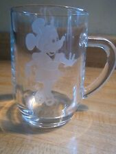 "Minnie Mouse Personalized ""RUTH"" Etched Clear Glass Disney Mug/Cup  FRANCE Vtg"
