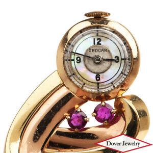 GROGAN Vintage 1.25ct Ruby Mother of Pearl 14K Gold Elegant Pin Watch 12.5 Gr NR