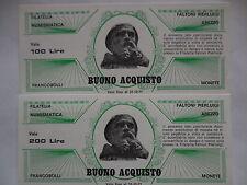 serie buoni d'acquisto da 100 e 200 lire filatelia Arezzo