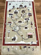 "CHRISTMAS SNOW VILLAGE ADVENT CALENDAR cotton quilters 24 x 44"" Fabric Panel"