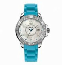 NUOVO Originale Thomas Sabo MOP & CZ Set WATCH BLU GOMMA wa0118-237-202-38 £ 269