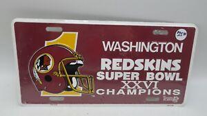 NOS Rare Metal Embossed Front License Plate Car Tag Washington Redskins XXVI NFL
