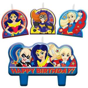 DC Super Hero Girls Candle Set Birthday Party Supplies Cake Topper 4 Piece New