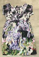 Stunning MINT VELVET 100% silk black green patterned short pleated dress UK 10