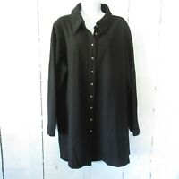 New Attitudes By Renee 1X Black Button Up Textured Tunic Back Zipper Plus Size