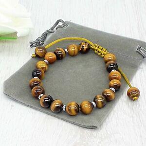 Adjustable Handmade Natural 8mm Tigers Eye Gemstone Cord Bracelet & Velvet Pouch
