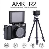 AMKOV 24MP HD 1080P Digital Cameras 180 Rotatable Screen+Wide-angle Lens+Tripod