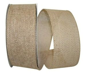 """1 metre 63mm (2.5"""") wide NATURAL BURLAP HESSIAN WIRED EDGE WIRED RIBBON BOWS"""