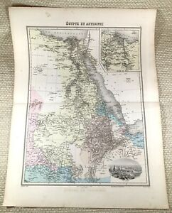 1903 Antique Map of  Egypt Abyssinia Ethiopia Cairo Old Hand Coloured Engraving