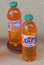 1:12 Scale 2 Bottles Of Orange Drink Dolls House Miniature Kitchen Accessory