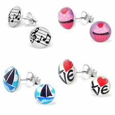 925 Sterling Silver Childrens Kids Logo Studs Earrings Round Gift Boxed NEW - 2
