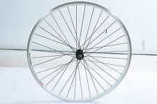 "29""ER FRONT WHEEL 700c 28""(622x19c) XC HYBRID WHITE DOUBLE WALL RIM, BLACK SPOKE"