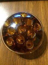 Vintage Glass Flower Frog 11 Hole Amber
