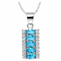 Sterling Silver Blue Topaz Graduated Necklace Blue Topaz Graduated Pendant