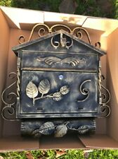 GOLD XXL Antique Vintage WROUGHT LETTER BOX POST MAILBOX