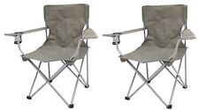 Set of 2 Quad Folding Camping Chair Steel Frames One Armrest Gray Outdoor Seat