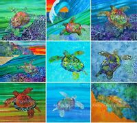 Turtle Reef Fabric Quilt Panel Tropical Under Sea Life Ocean Square~Alcohol Ink
