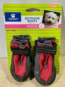 NEW Top Paw Red Reflective Protective Dog Outdoor Rain/Snow Boots - Sz M