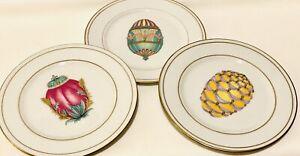 """Set Of 3 Veritable Porcelaine Email De Limoges Faberge Egg Plates 7.5"""""""