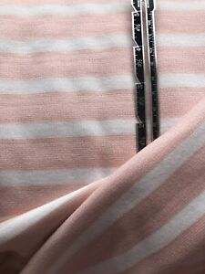 Pink & White Breton Stripe Ponte Roma Fabric - 145cm Wide - Half Metre Units