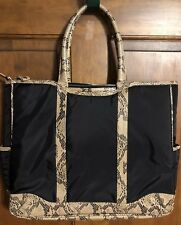 a82be842f9 Large Faux Snake Skin Purse Tote Computer Tag Pretty Lining EUC