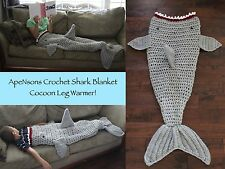MADE And READY Adult/Child Crochet Shark Blanket Cocoon Leg Warmer One Size