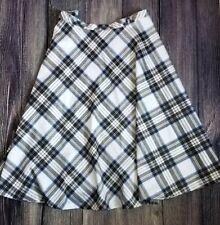 Betty Paige Plaid Swing Rockabilly High Waist Pin Up Skirt White Blue Size 4XL