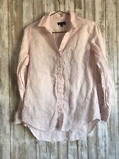 Lord & Taylor Light Pink Linen Button Down Shirt Blouse* XS *