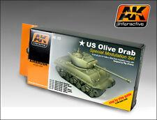 AKI US Olive Drab Modulation Acrylic Paint Set (6 Colors) 17ml Bottles AK 131