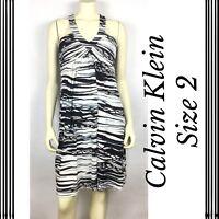 Calvin Klein Womens Dress Size 2 Black White Stretch Sleeveless V-Neck A25-11