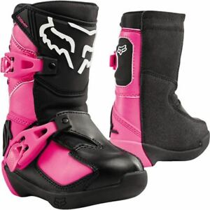 Fox Racing Comp K Pee Wee Boots - Black/Pink, All Sizes